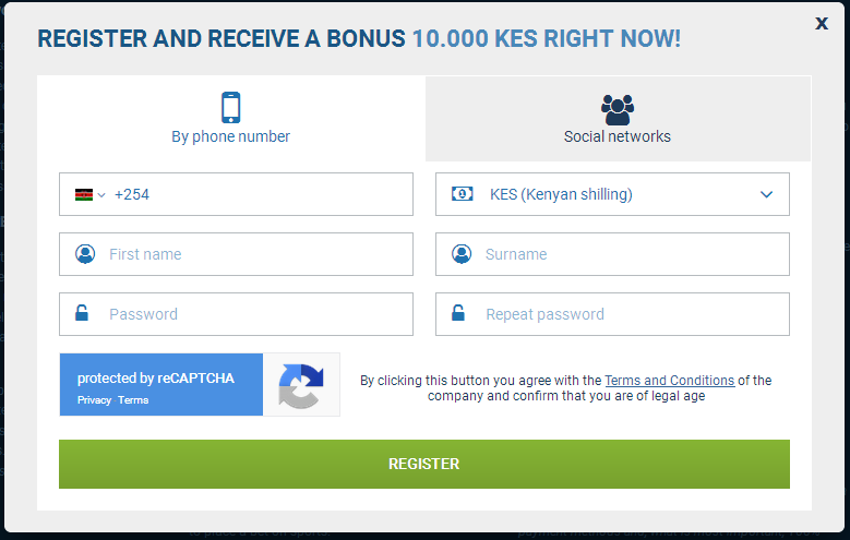 1xbet kenya register & join